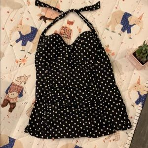 Black and beige polka dot pinup one piece